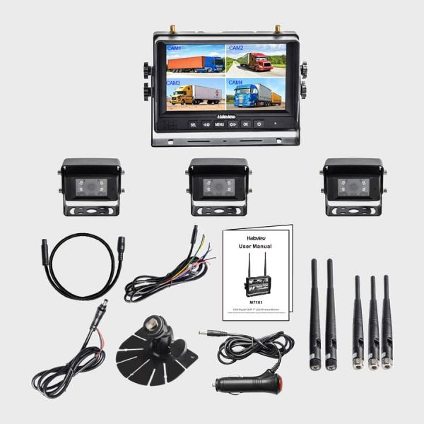 Haloview MC7101-3  7 Inch Digital Wireless Rear View Camera System with 3 cameras