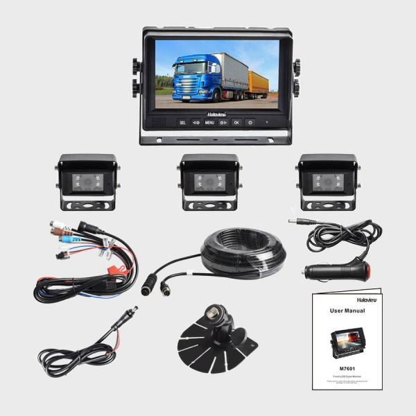 Haloview MC7601-3 7 Inch Wired Rear View System with 3 cameras